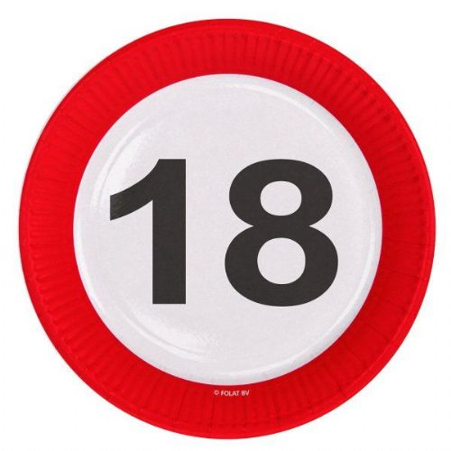Traffic Sign 18th Party Plates 23cm 8's Birthday Tableware Table Disposable